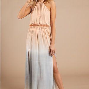 Lulu's Blush w/ Blue trim Maxi Dress
